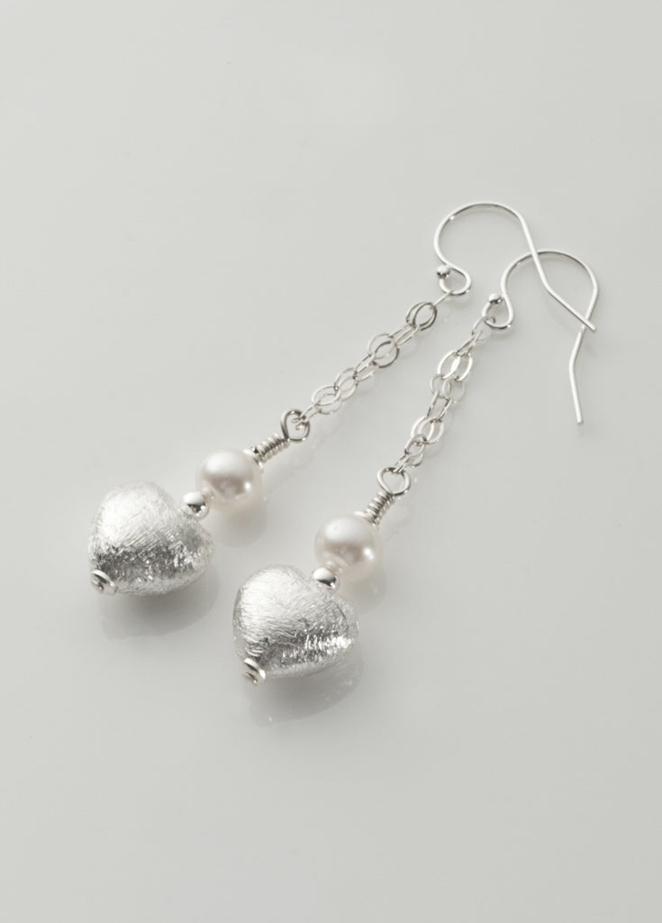 Silver and pearl heart drop earrings