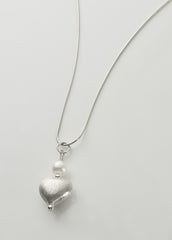 Silver and pearl heart pendant, medium