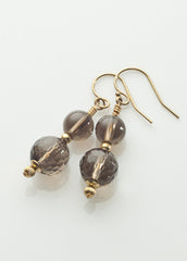 Smoky quartz 2-stone earrings with 14K gold filled