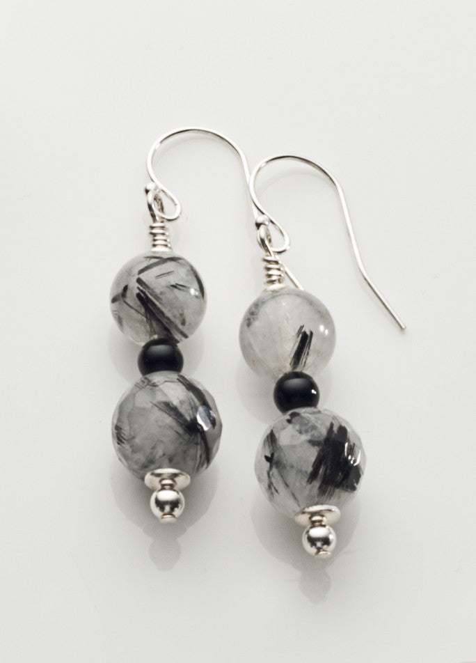 Tourmalinated Quartz 2-bead Earrings with Sterling Silver