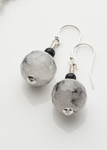 Tourmalinated Quartz Earrings with Sterling Silver