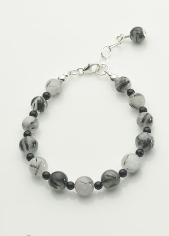 Tourmalinated Quartz and Black Onyx Bracelet with sterling silver