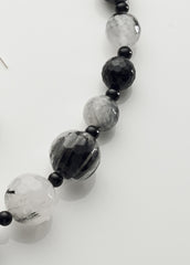 Tourmalinated Quartz and Black Onyx Necklace with sterling silver