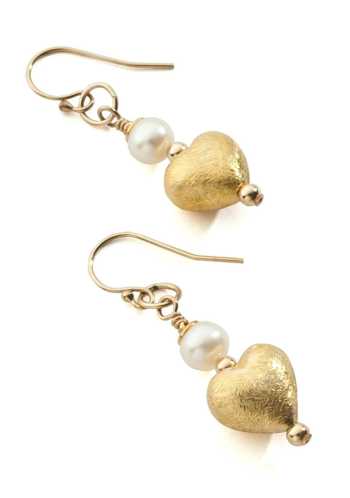 Vermeil and pearl heart earrings
