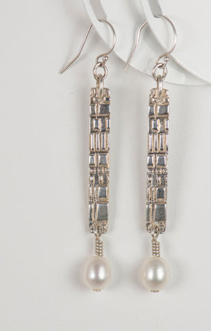 Bar drop earrings in sterling silver