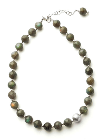 Labradorite 12mm Sphere Necklace with Sterling Silver