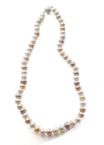 Natural freshwater pearl necklace in multiple tones