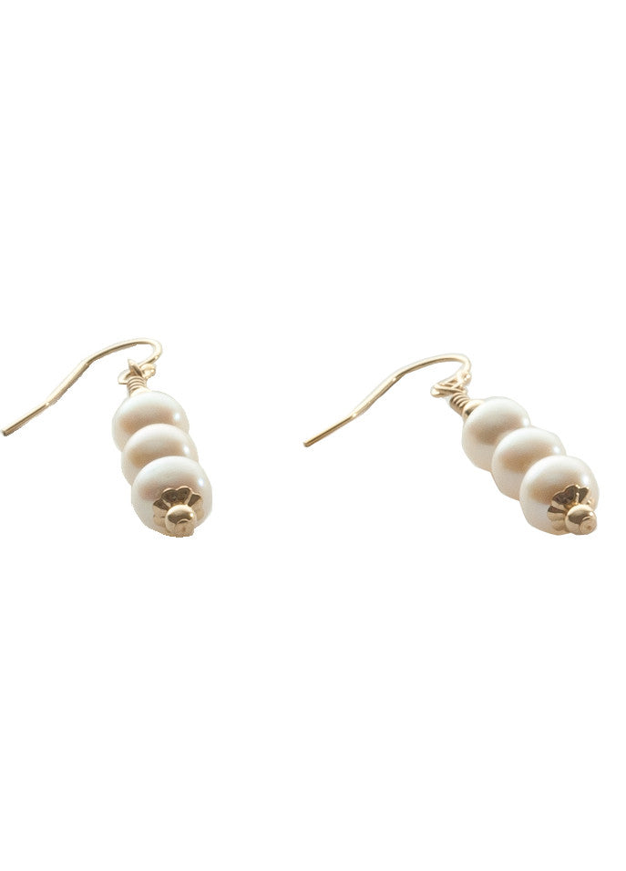 Triple pearl drop earring with 14K gold filled