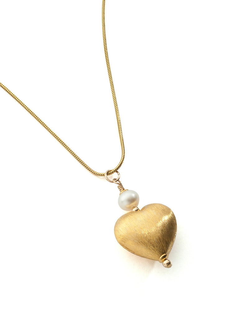 Vermeil and pearl heart pendant, large