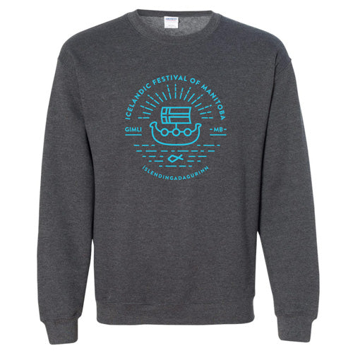 Viking Ship Sweater - Grey and Blue