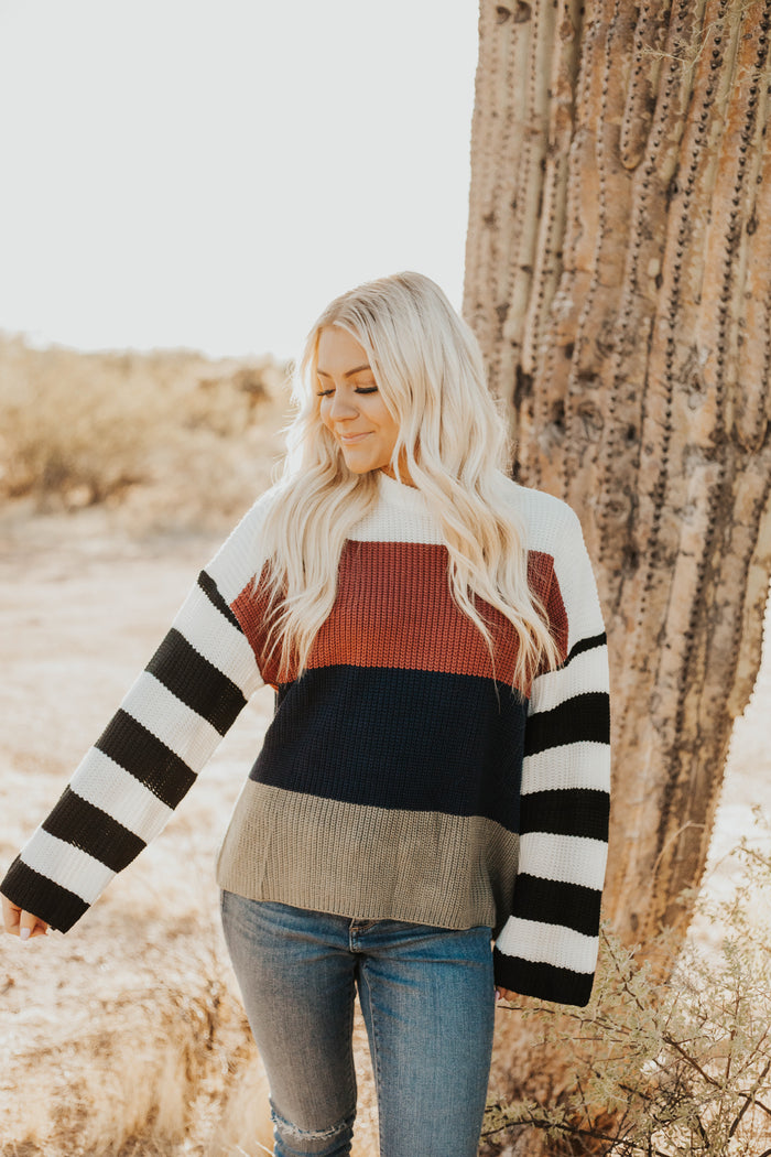 Stripe back at you sweater