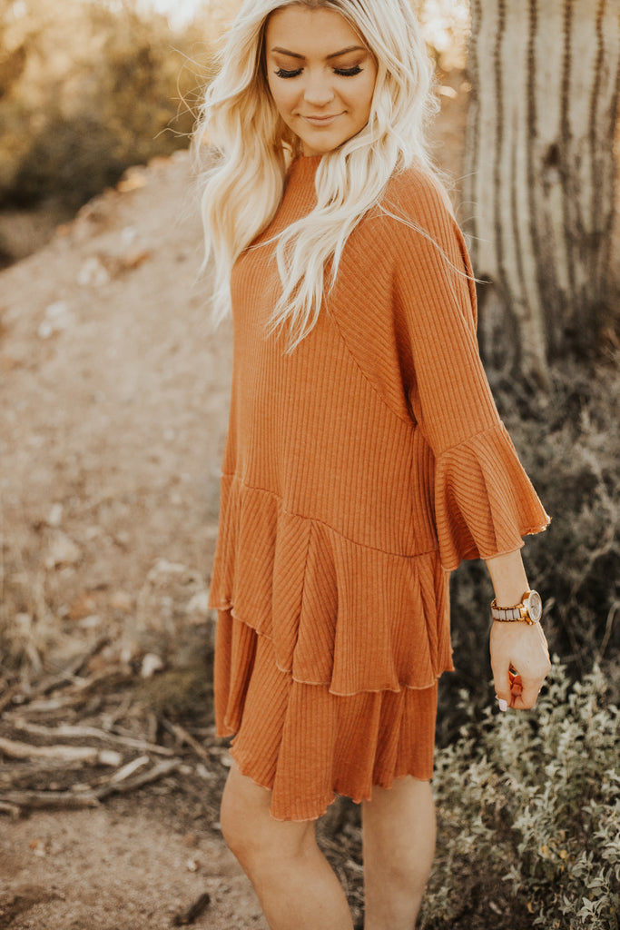 Roll with it ribbed dress (Rust)