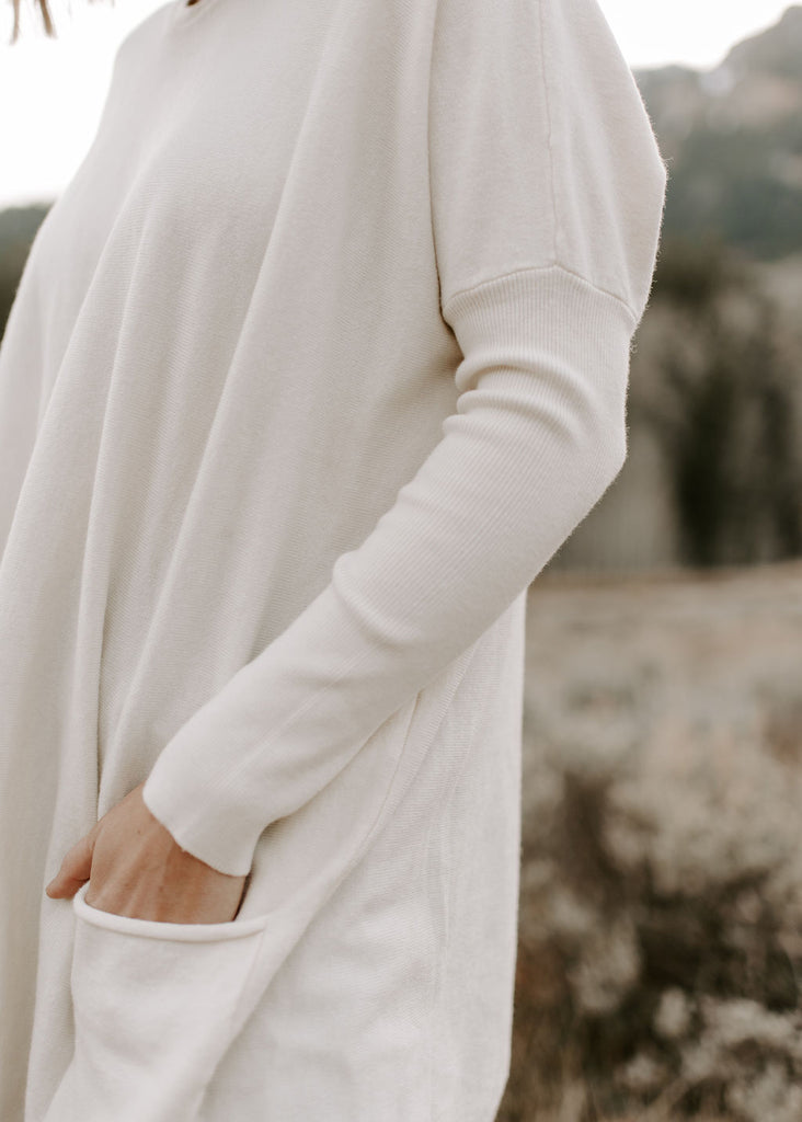 Pocket Sweater in ivory