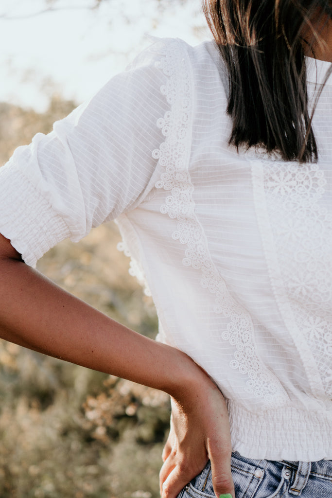 White lace and frill blouse