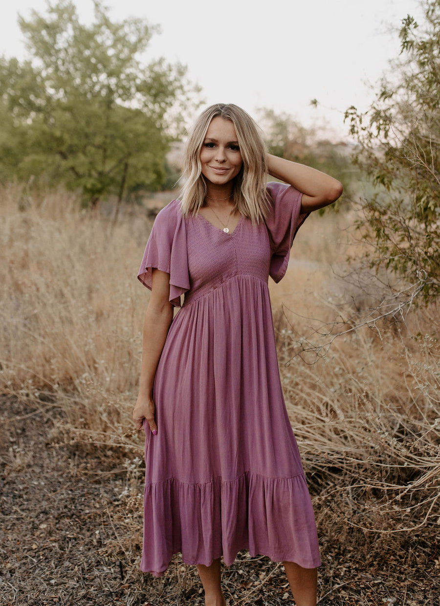 Dusty Mauve Midi Dress