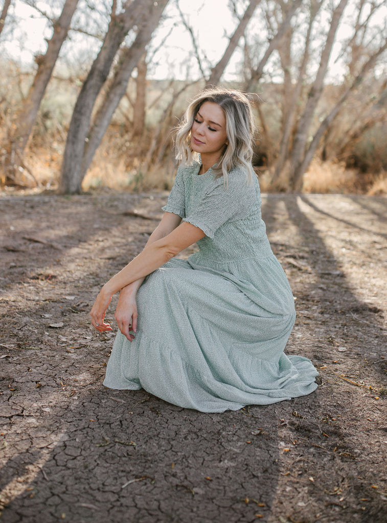 Dotted Sage Maxi Dress