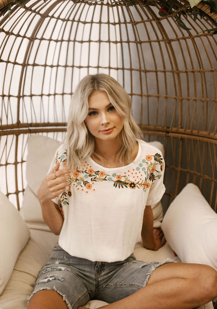 White embroidered Flowers Top