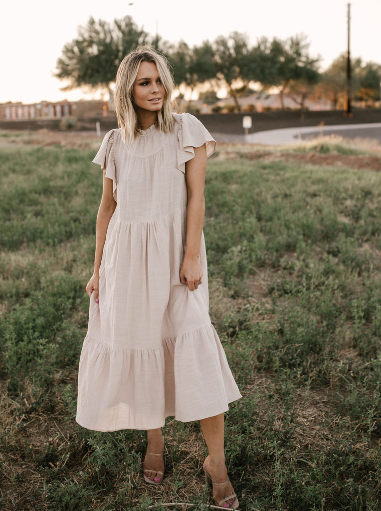 So Taupe Midi Dress
