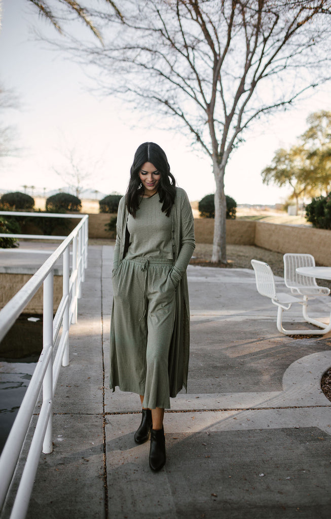 Lounging around in Olive Set