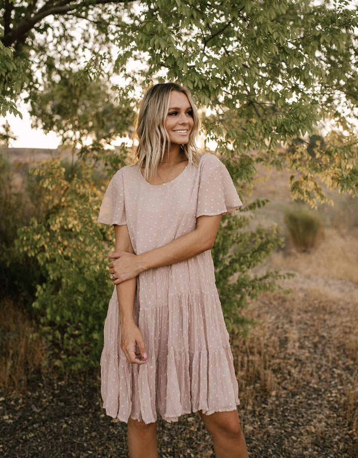 Dusty Rose Swiss Dot Dress