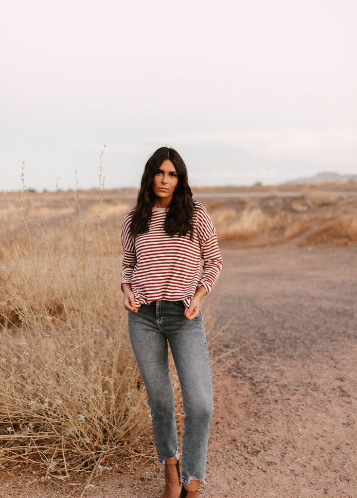 Brick and White Stripe Top