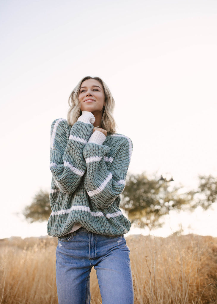 Sage and Stripes Sweater