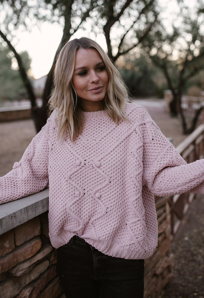 Dusty Pink Cable Knit Sweater