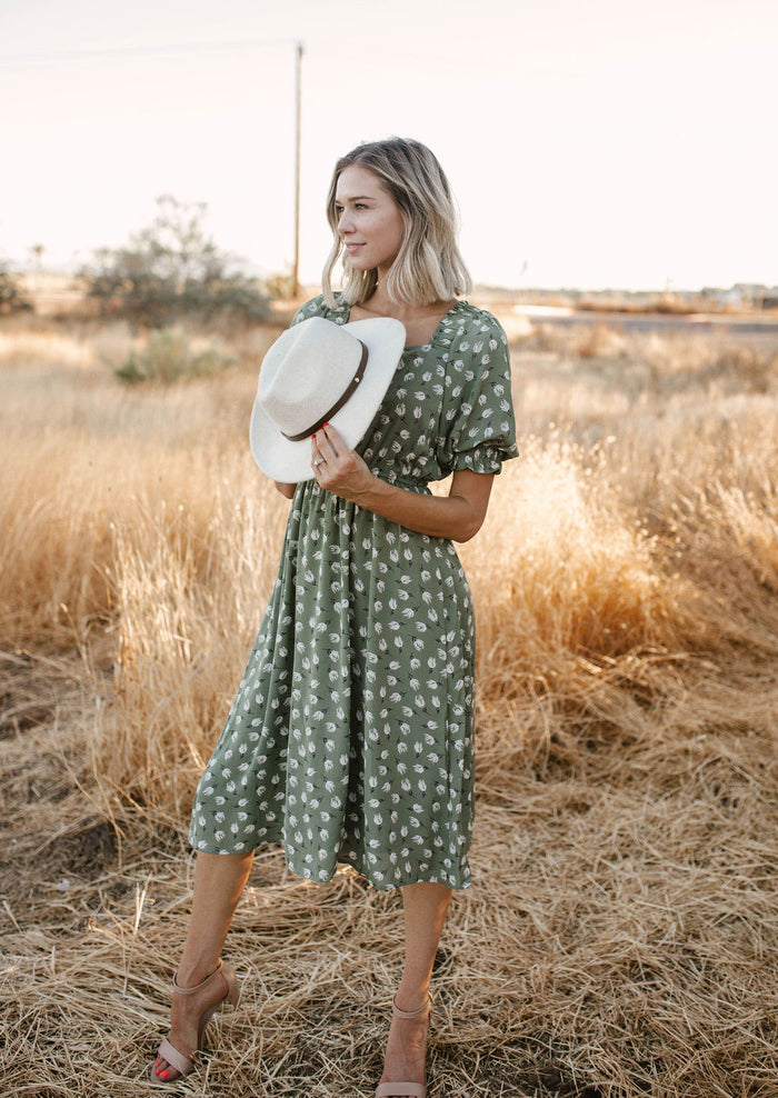 Olive Daisies Midi Dress