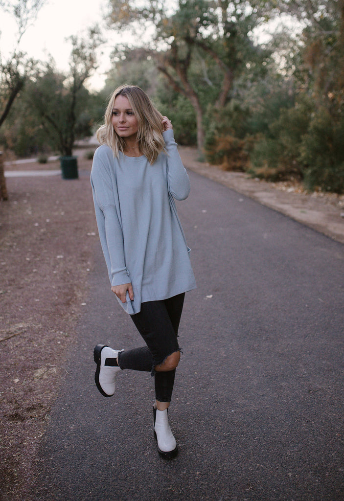 Pocket Sweater in Ash Blue