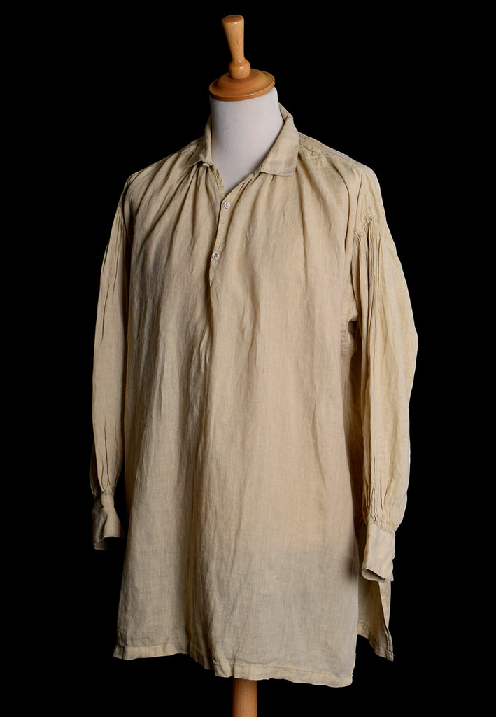 Broken Down C18th Linen Shirt (SH120B) | Pale Stone | Darcy Clothing