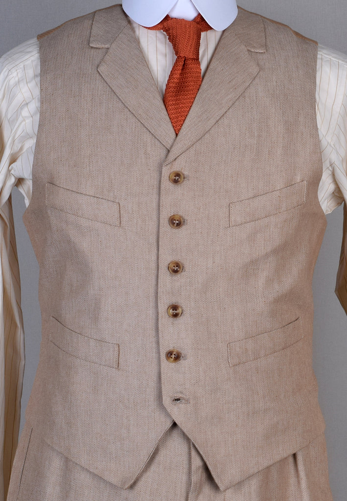 Cotton / Linen Blend Biscuit Coloured Waistcoat (WC450)