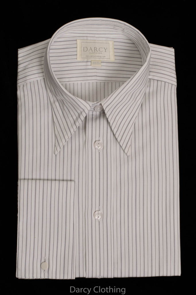 Replica Striped Fabric Spearpoint Collar Shirt | Permanent Stock (SH190R) - Colour 60 - Black, Grey & White Stripe