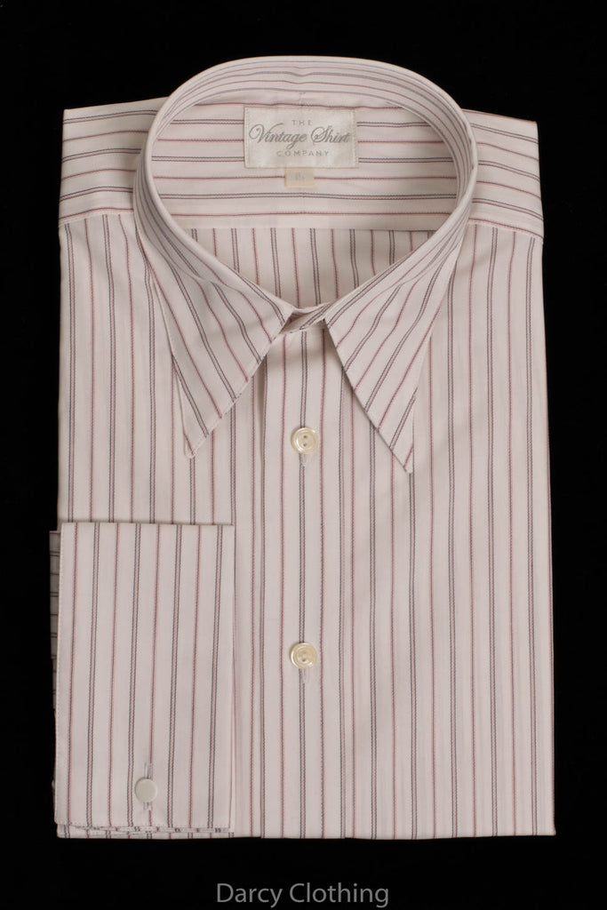 Replica Striped Fabric Spearpoint Collar Shirt | Permanent Stock (SH190R) - Colour 61 - Black, White & Pink Stripe