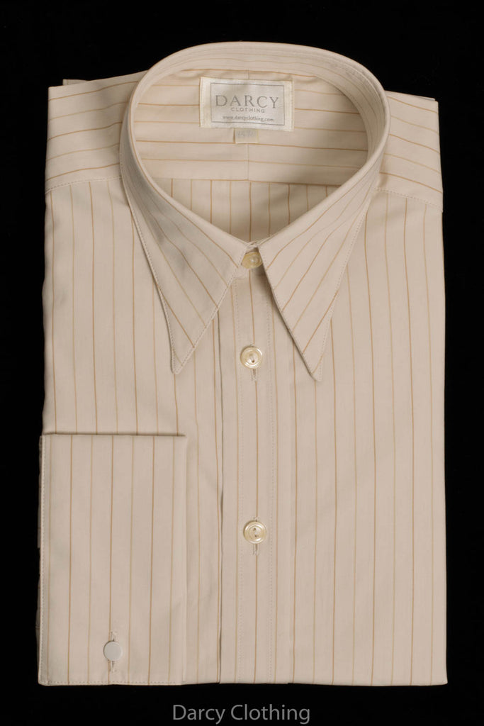 Replica Striped Fabric Spearpoint Collar Shirt | Permanent Stock (SH190R) - Colour 63 - Cream & Gold Stripe
