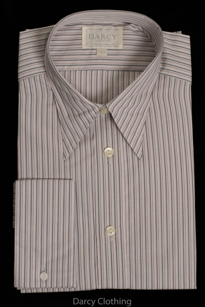Replica Striped Fabric Spearpoint Collar Shirt | Permanent Stock (SH190R) - Colour 62 - Burgundy & Grey Stripe