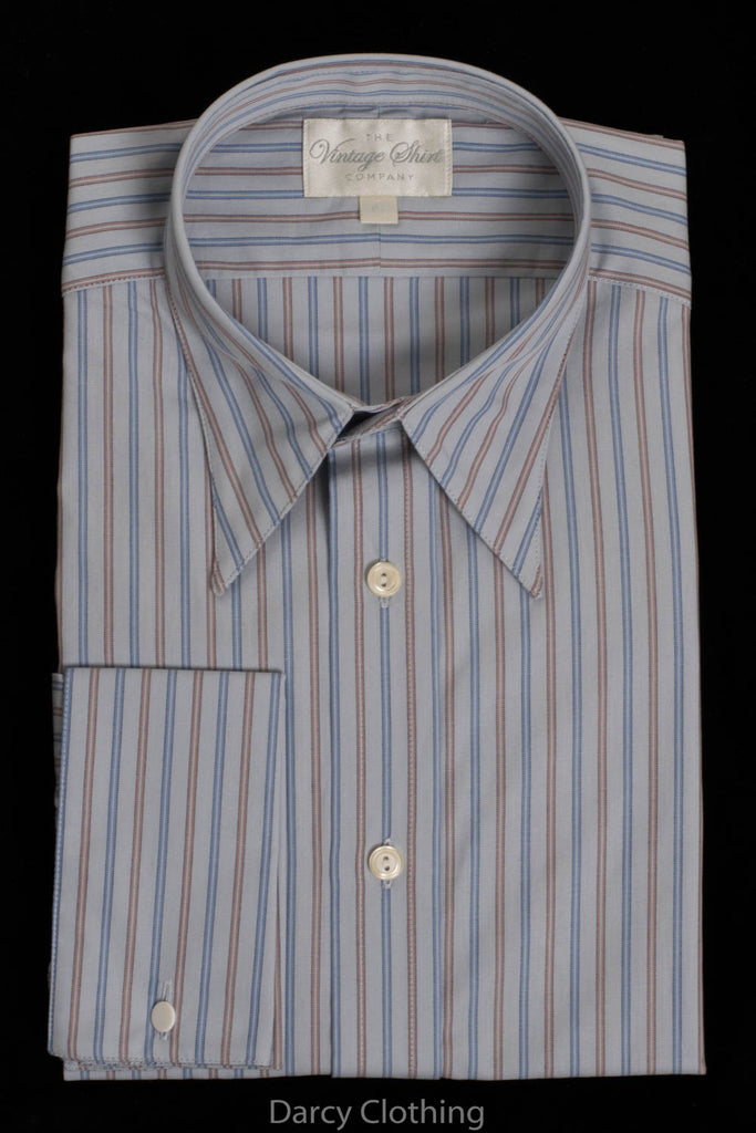 Replica Striped Fabric Spearpoint Collar Shirt | Permanent Stock (SH190R) - Colour 71 - Sky Blue & Brown Stripe
