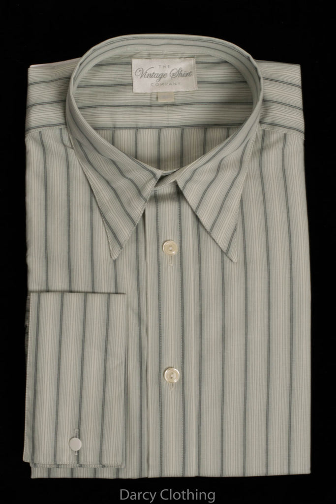 Replica Striped Fabric Spearpoint Collar Shirt | Permanent Stock (SH190R) - Colour 72 - Green Stripe