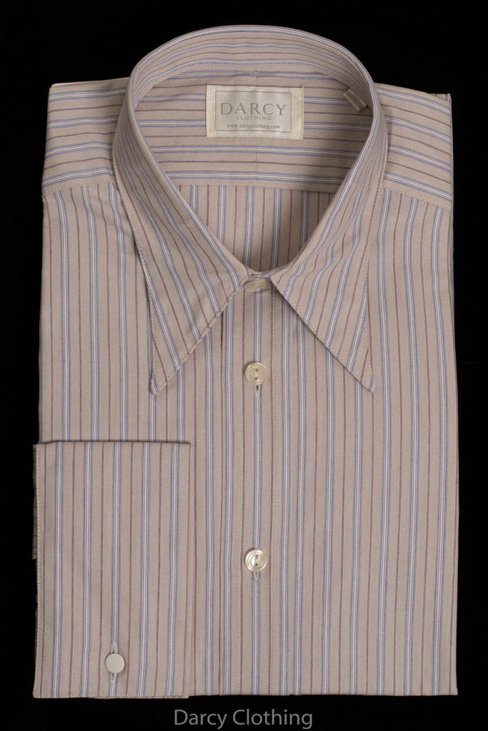 Replica Striped Fabric Spearpoint Collar Shirt | Permanent Stock (SH190R) - Colour 73 - Fawn, Mauve & Blue Stripe