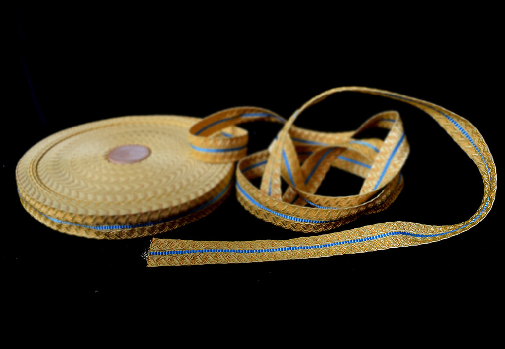 Gold Coloured Braid with Blue stripe 20mm (BDG021)