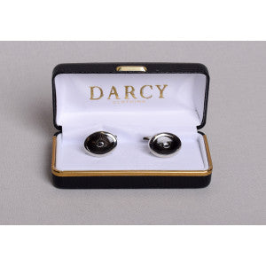 Art Deco Style Cuff Links (ST910) - White / Black
