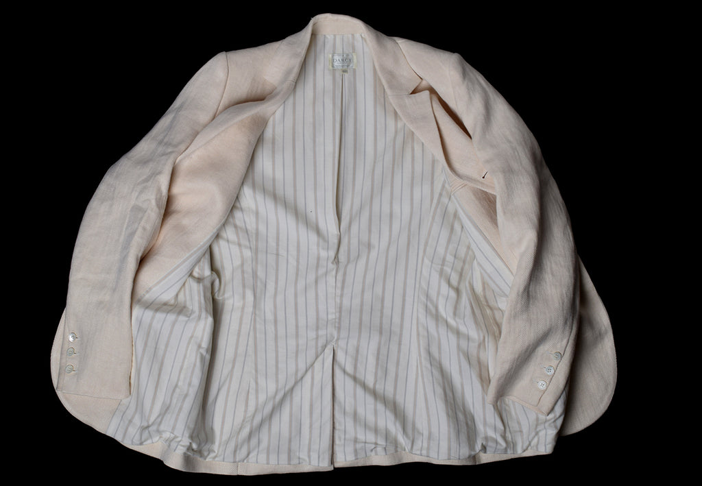 Heavyweight Ivory Herringbone Fully Lined Linen Jacket (JA933)
