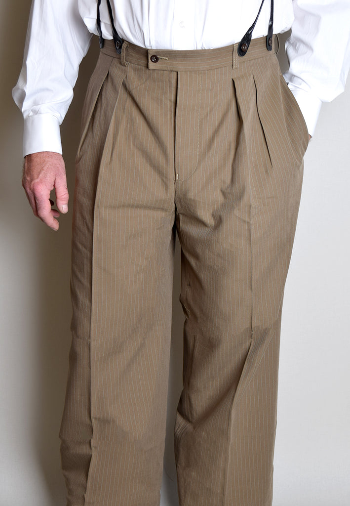 1920's Oxford Bags Trousers (TR1920) - Khaki Stripe