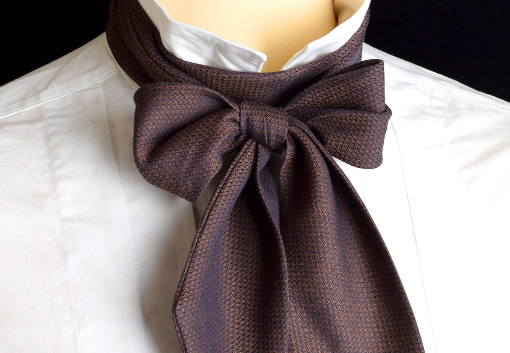 Textured Cotton Victorian Bow Tie (CR568) - Conker