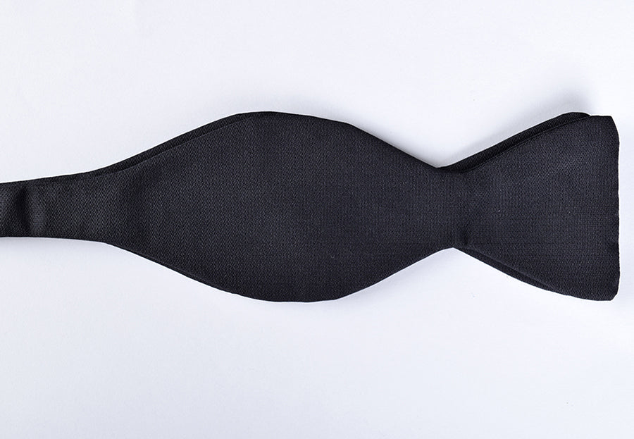 Sized Black Silk Bow Ties - Self Tie (CR535B)