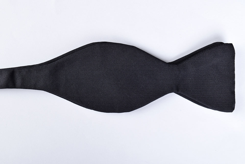 Narrow Black Silk Bow Ties - Self Tie (CR532)