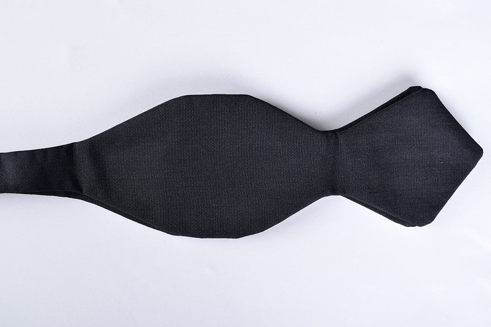 Black Silk Pointed End Bow Tie - Self Tie (CR545BS)