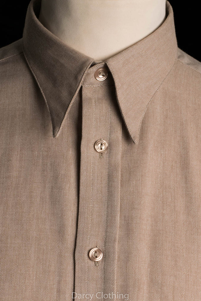 Fawn Herringbone Spearpoint Collar Shirts (SH190H)