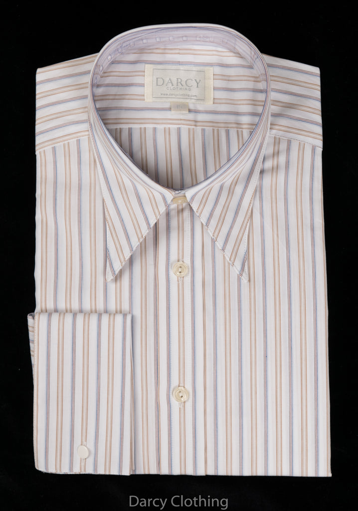 Replica Striped Fabric Spearpoint Collar Shirt | Permanent Stock (SH190R) - Colour 75 - Blue/Brown White Multi Stripe