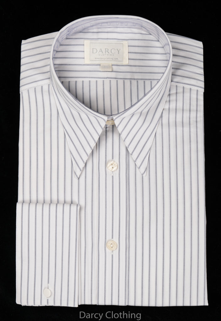 Replica Striped Fabric Spearpoint Collar Shirt | Permanent Stock (SH190R) - Colour 74 - Blue/Grey Stripe