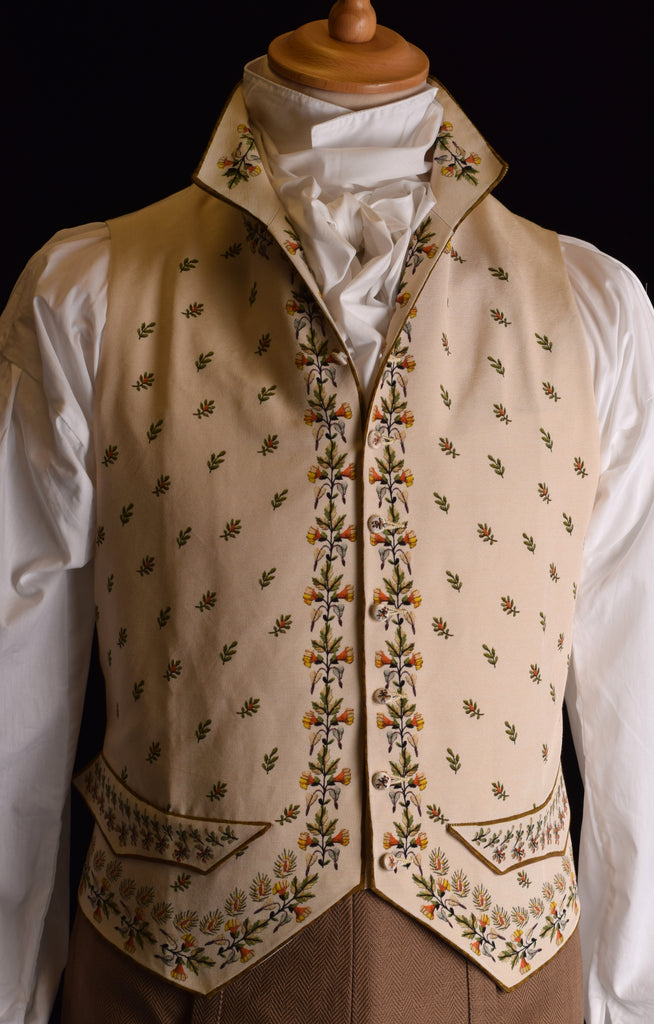 C18th Floral Waistcoat (WC220) - Autumn Wheat